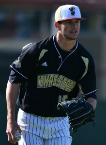 Texas State junior pitcher Kyle Finnegan struck out 11 batters in Saturday's 3-2 loss (Photo by Gerald Castillo).