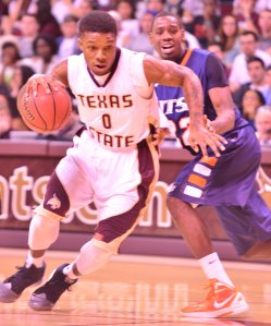 Texas State junior guard Phil Hawkins scored 13 points in 32 minutes against UTSA (Photo by Gerald Castillo).