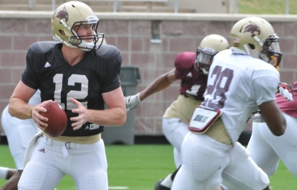 Texas State quarterback Tyler Arndt completed six of his 12 passes for 42 yards at Saturday's scrimmage (Photo by Gerald Castillo).