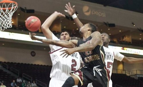 Texas State junior forward Joel Wright had 17 points and 11 rebounds in the loss (WAC Photo).
