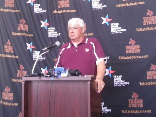 Texas State head coach Dennis Franchione speaks at the 2013 Media Day.