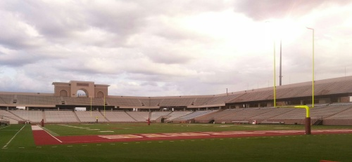 An ominous sky loomed over Bobcat Stadium during Thursday's practice.
