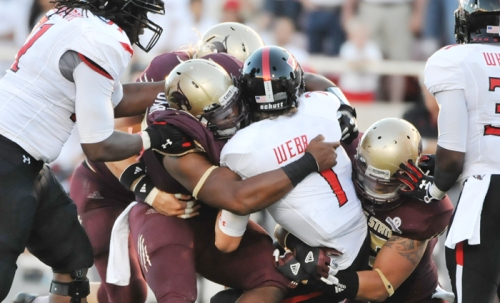 Texas State's defense roughed up both Texas Tech quarterbacks last week (Photo by Gerald Castillo).