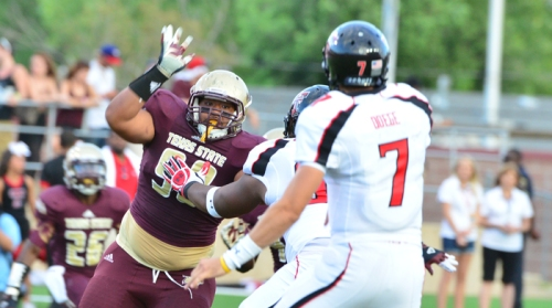 Texas State defensive lineman Kamu Taulelei pressures Seth Doege in last year's loss.