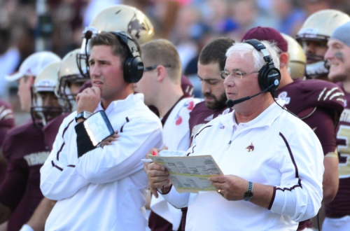 Texas State head coach Dennis Franchione takes a look at the field during a recent game.