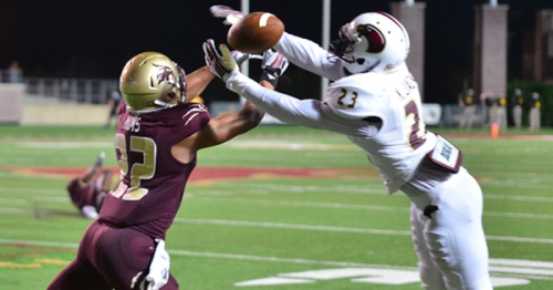 Texas State cornerback David Mims nearly comes up with an interception against ULM.