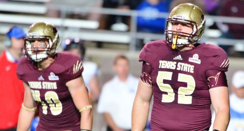 Texas State's Stephen Smith and D.J. Yendrey look to the sideline during a recent game.