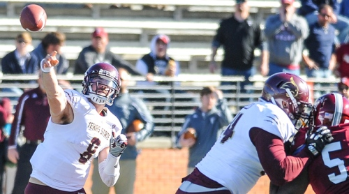 Texas State senior quarterback Duke DeLancellotti throws a pass against Troy (Photo by Joshua Thurston)