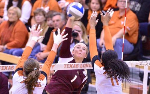 Texas State freshman Shelby Vas Matt goes up for a kill in Thursday's match.