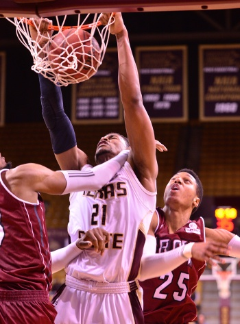 Texas State sophomore forward Emani Gant slams home two points Saturday night.