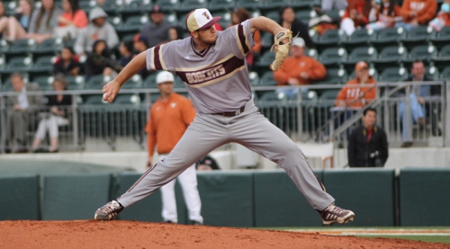Texas State freshman Dylan Bein pitched well in relief (Photo by Sarah Smith).