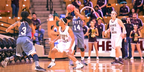 While Troy's Joanna Harden (No. 3) was my pick for player of the year, Texas State played strong defense against Harden in two games this season (Photo by Gerald Castillo).